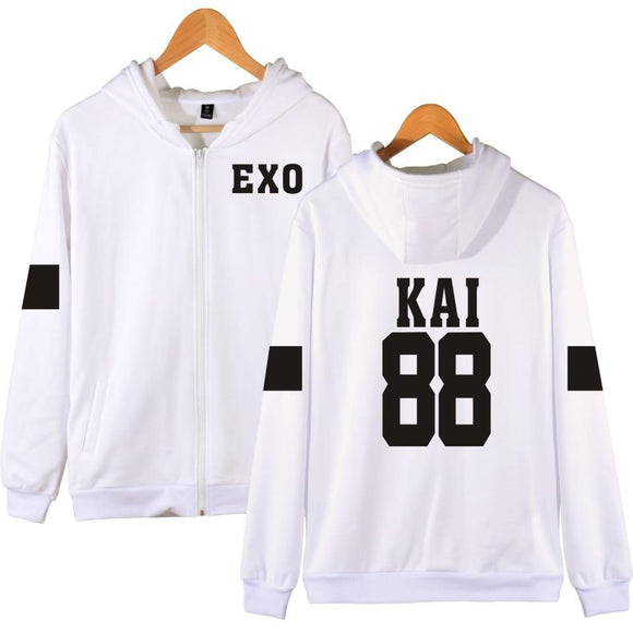 EXO 'Member' Zipped Hoodie - White - Totally Kpop