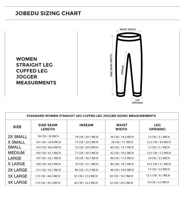 Size chart for the striaght leg cuffed jogger for women