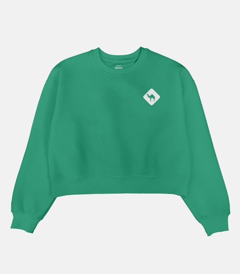 Jobedu Camel Crossing Icon | Women's Cropped Sweatshirt