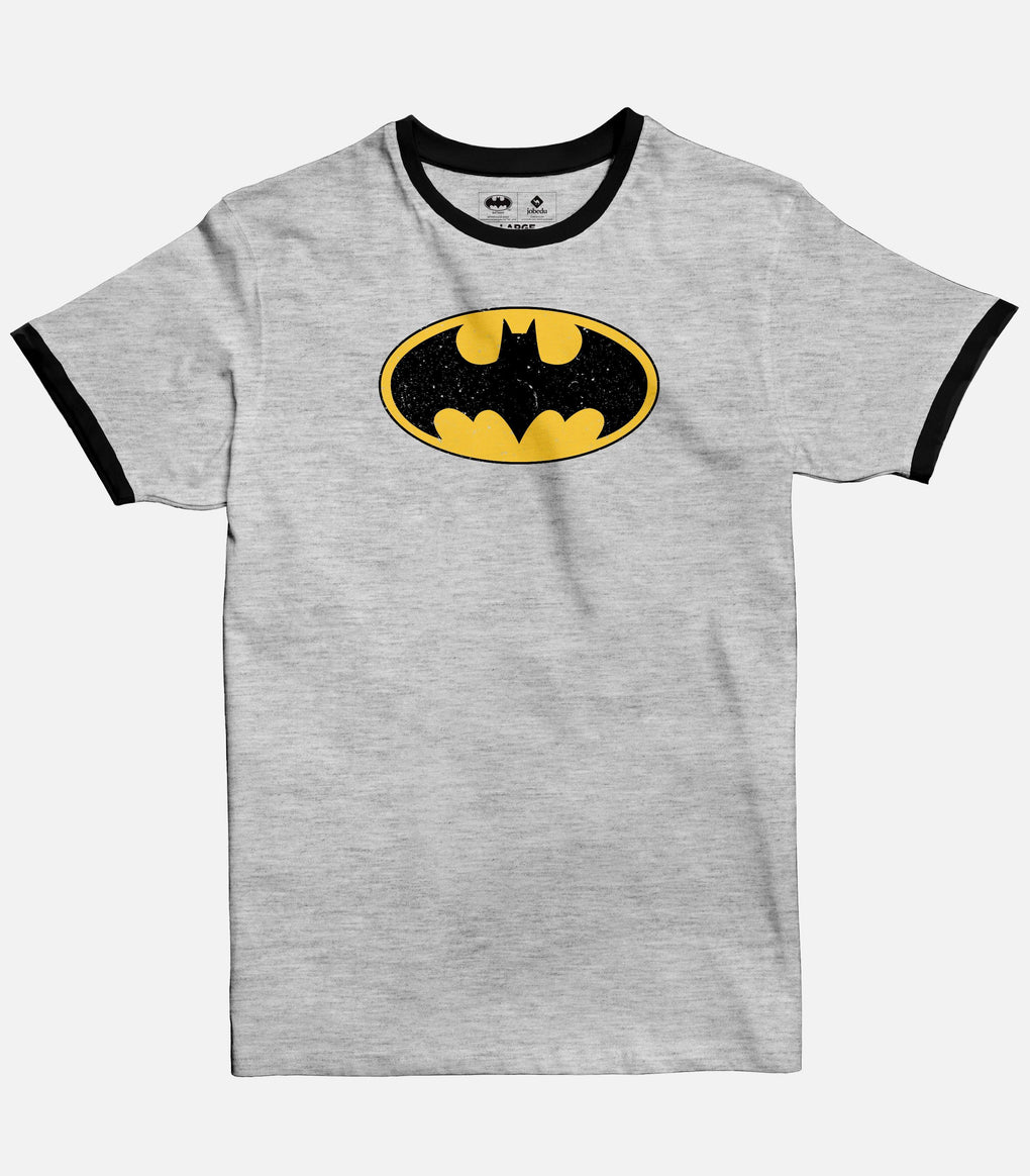 Men Light Grey Melange  Ringer T-shirt with Black crew and sleeves bands featuring the official Batman logo from DC