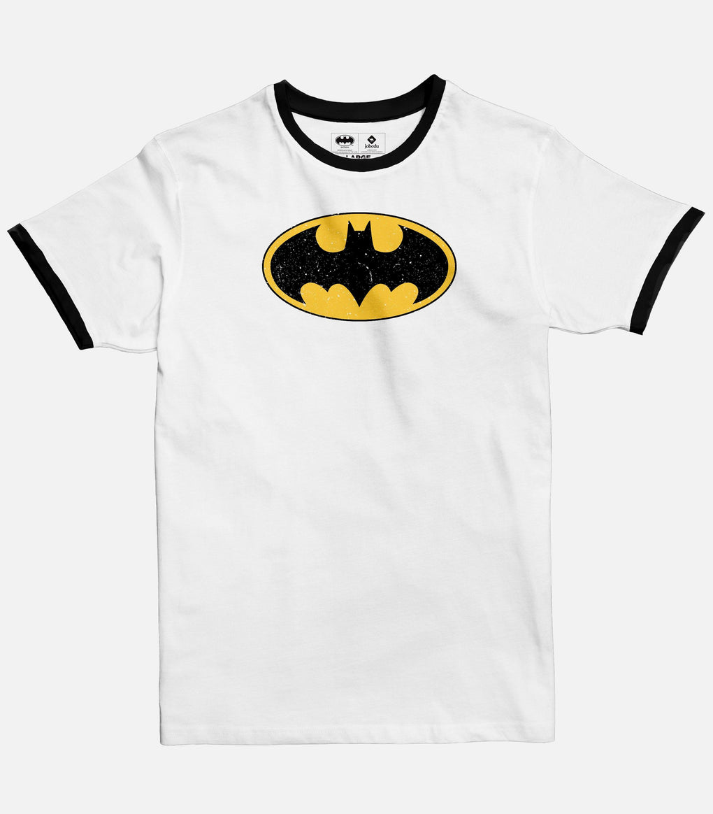 Men White Ringer T-shirt with Black crew and sleeves bands featuring the official Batman logo from DC
