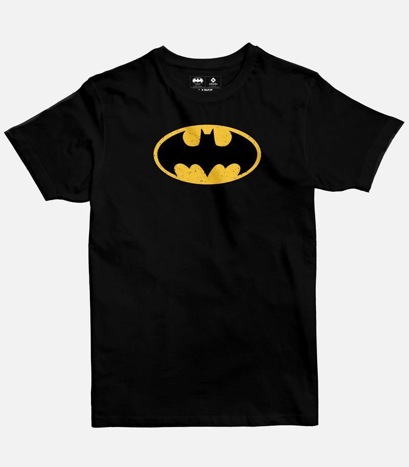 Men Black Graphic T-shirt with A DC licensed design of the  official Batman logo printed on the front