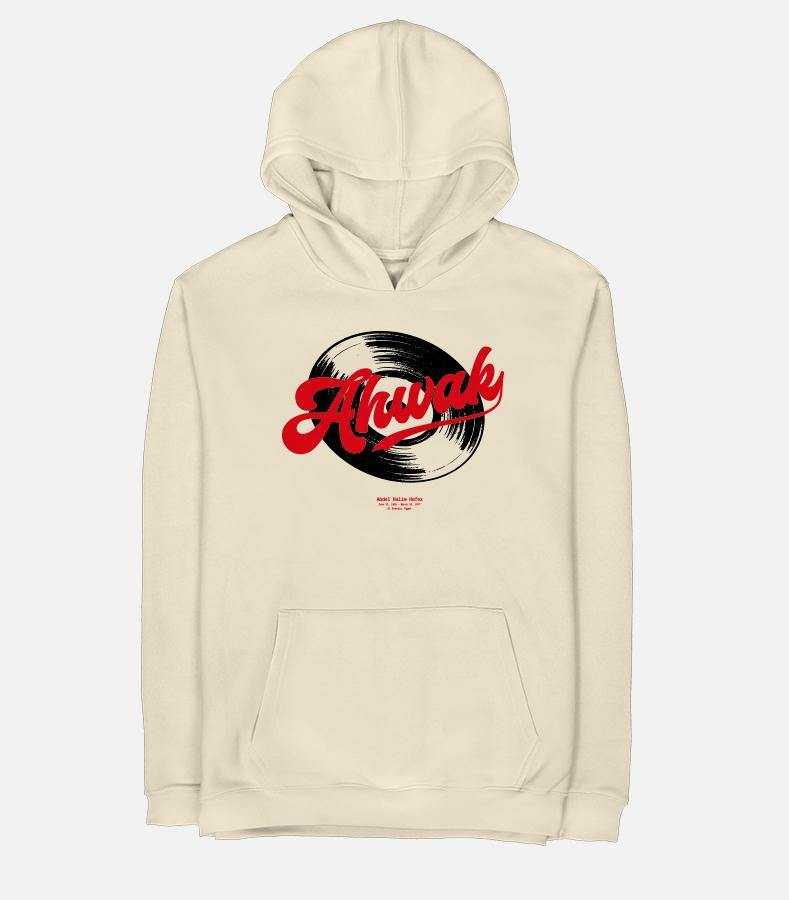 Adult Beige Graphic Hoodie featuring a vintage design of the Ahwak song for Abdel Haleem