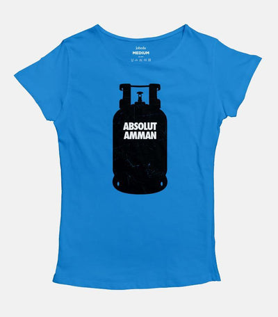 Women medium blue T-shirt with a design of a black Gas cylinder  with the words Absolut Amman written on it.