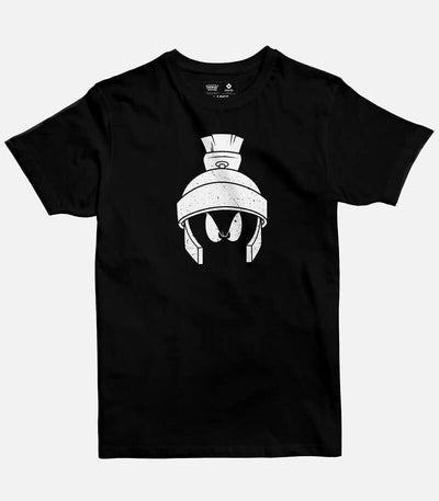 Men Black T-shirt with a Loony Tunes licensed  design featuring Marvin, printed on the front.