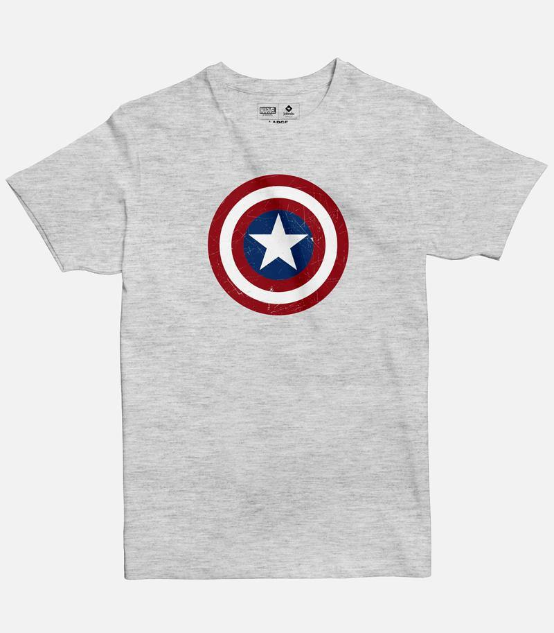Men Light Grey Melange Graphic T-shirt featuring a Marvel licensed design of Captain America shield