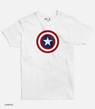 Men White Graphic T-shirt featuring a Marvel licensed design of Captain America shield