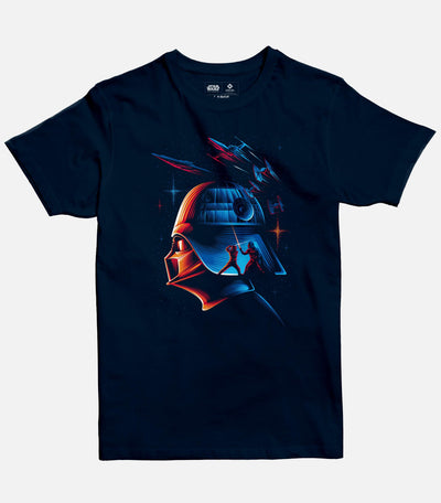 Men Navy Blue Graphic T-shirt featuring a Star Wars licensed design of Darth Vader.