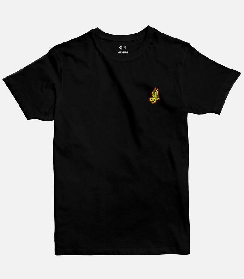 Men Black Graphic  T-shirt with a red an yellow icon of the name Jobedu in Arabic printed on the top-left