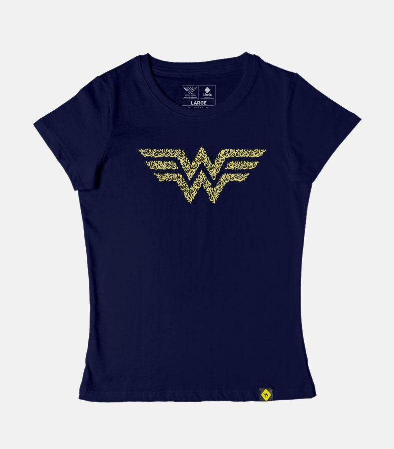 Wonder Woman Logo Calligraphy | Women's Basic Cut T-shirt - Jobedu Jordan