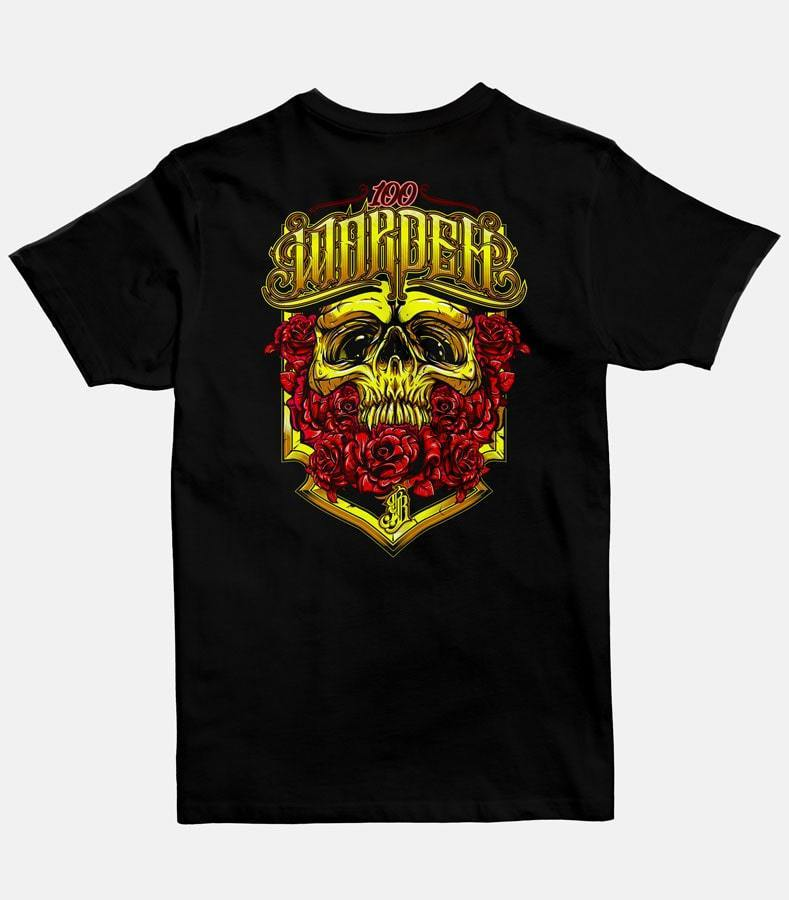 The Back of a men black graphic t-shirt with a design of a gold skull surrounded by 100 red roses printed on it