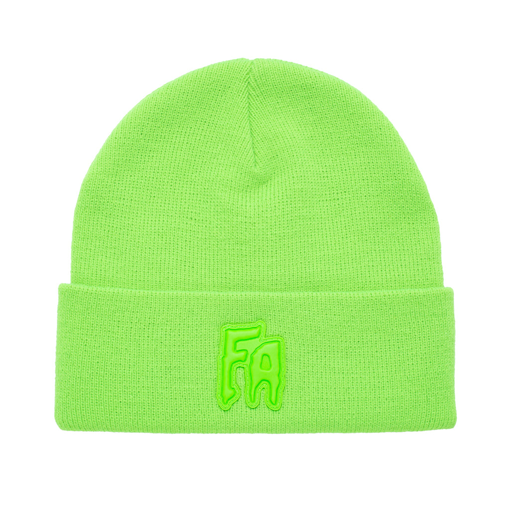 applique-cuff-beanie-neon-green