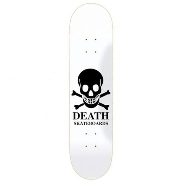 "Death Skateboards Reverse Logo team model. 8.375"" wide."
