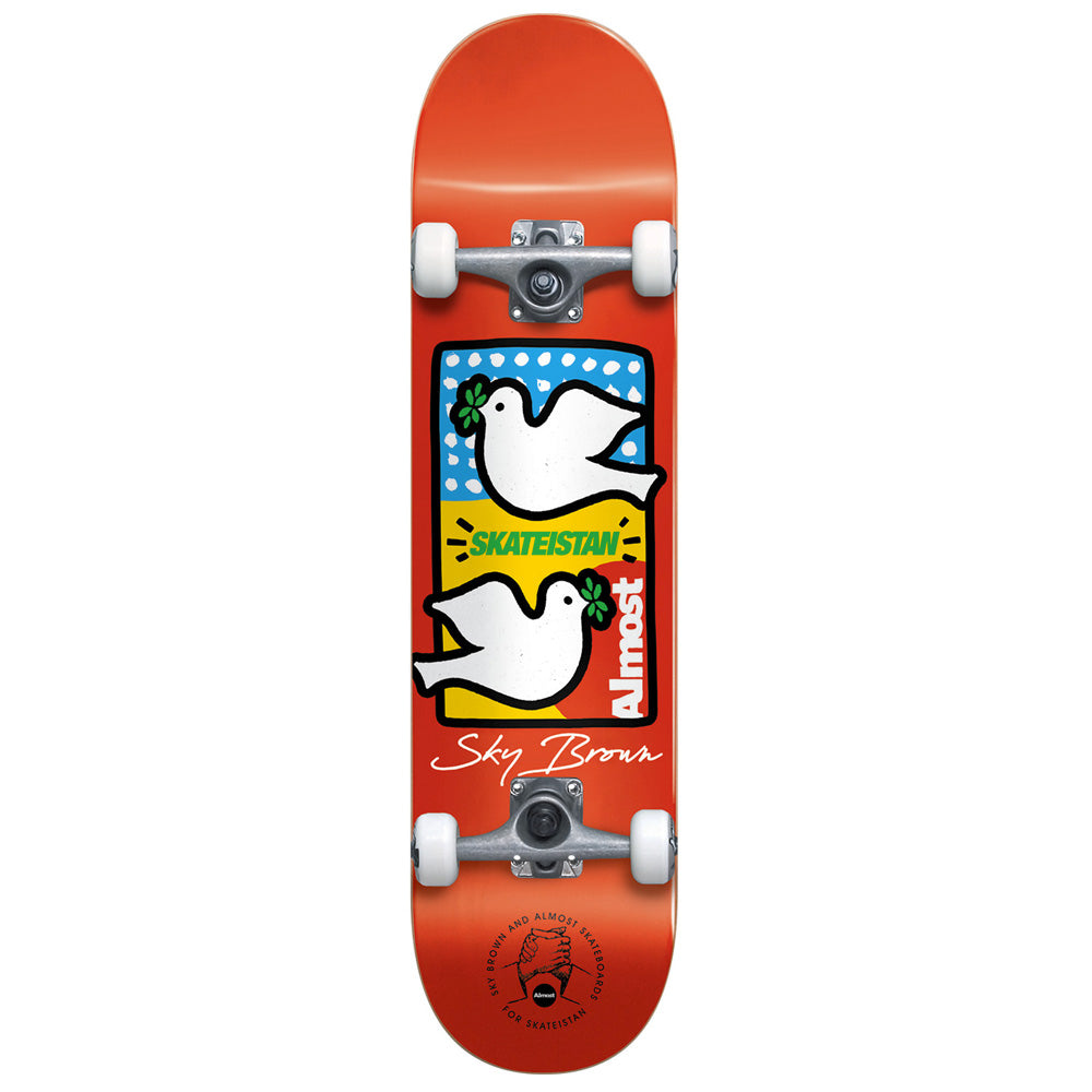 "Almost Skateboards Sky Brown Double Doves Skateboard. 7.5"" Wide."