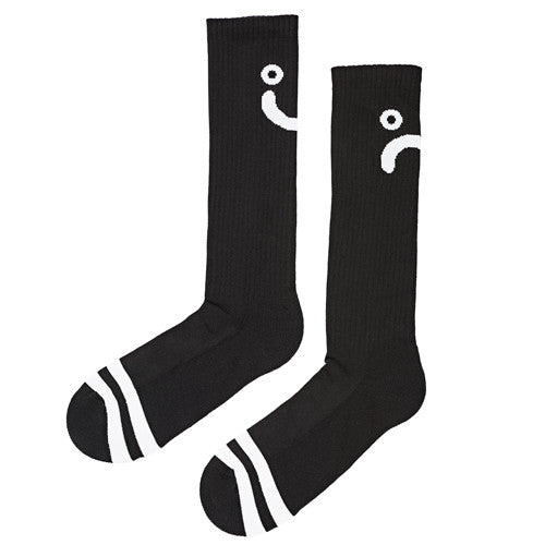 Polar Skate Co Upside Down Happy Sad Socks Black.