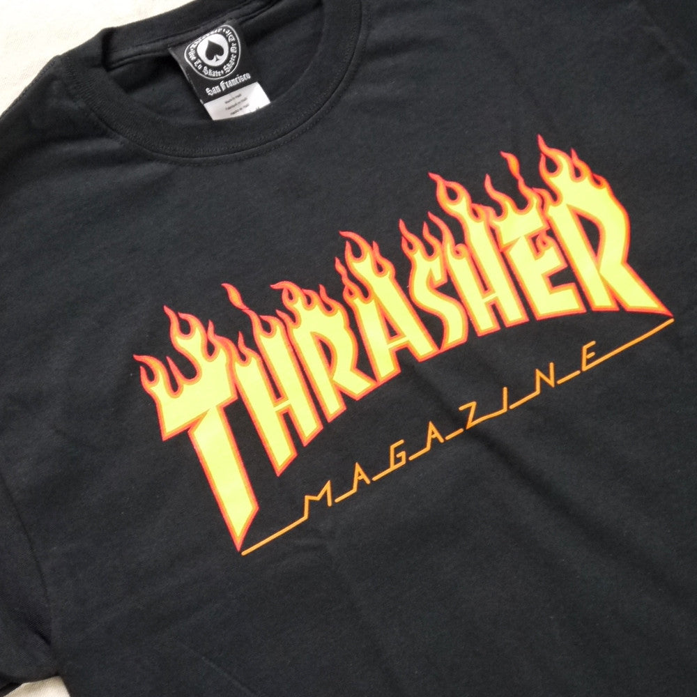 Thrasher Magazine Flame Logo T.  Black.
