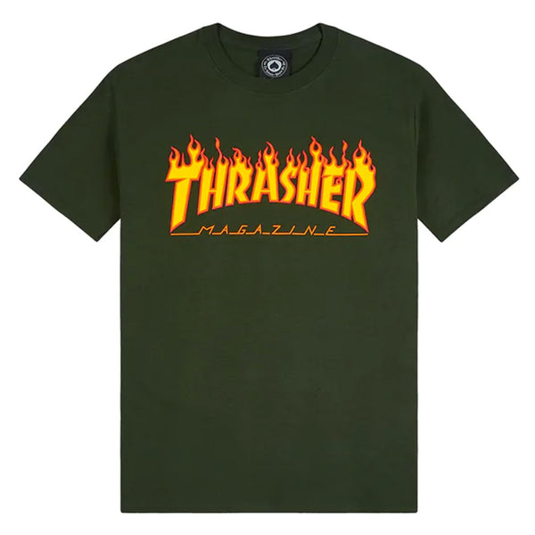 Thrasher Magazine Flame Logo T Green