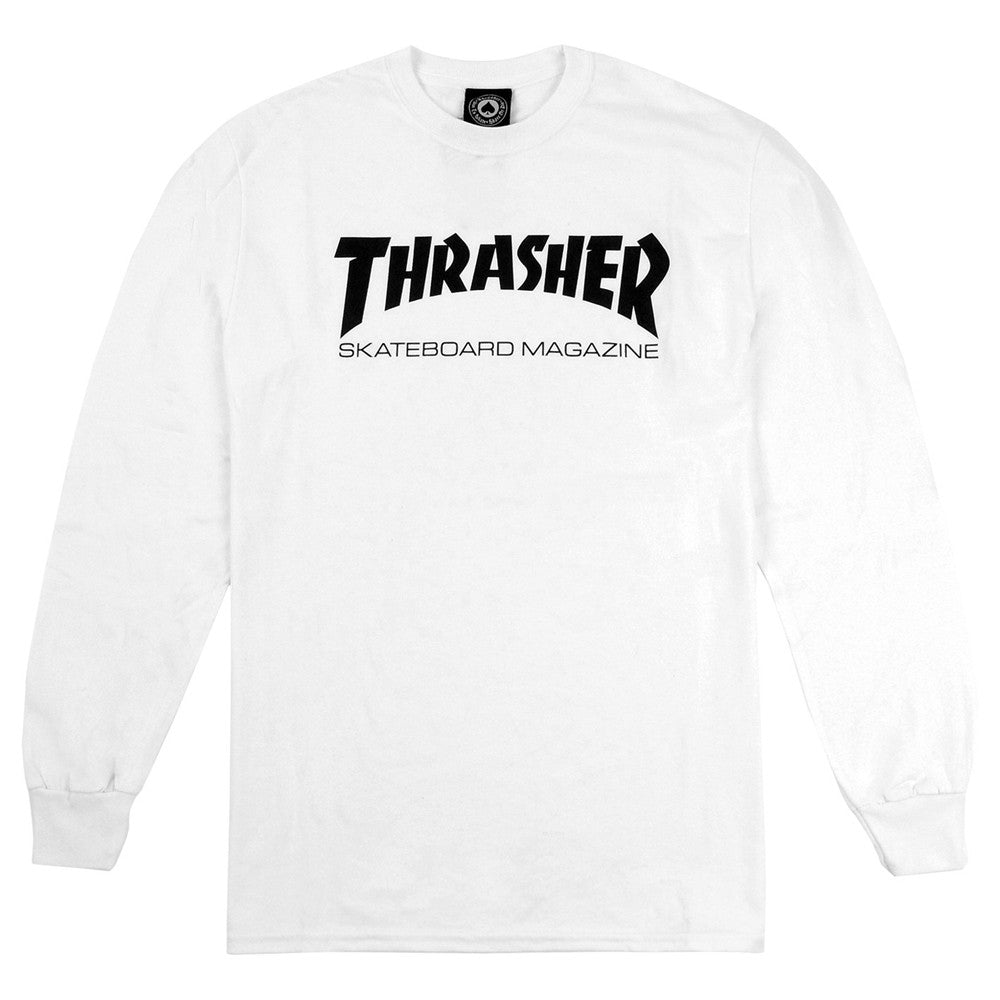 Thrasher Magazine Logo Long Sleeve T White.
