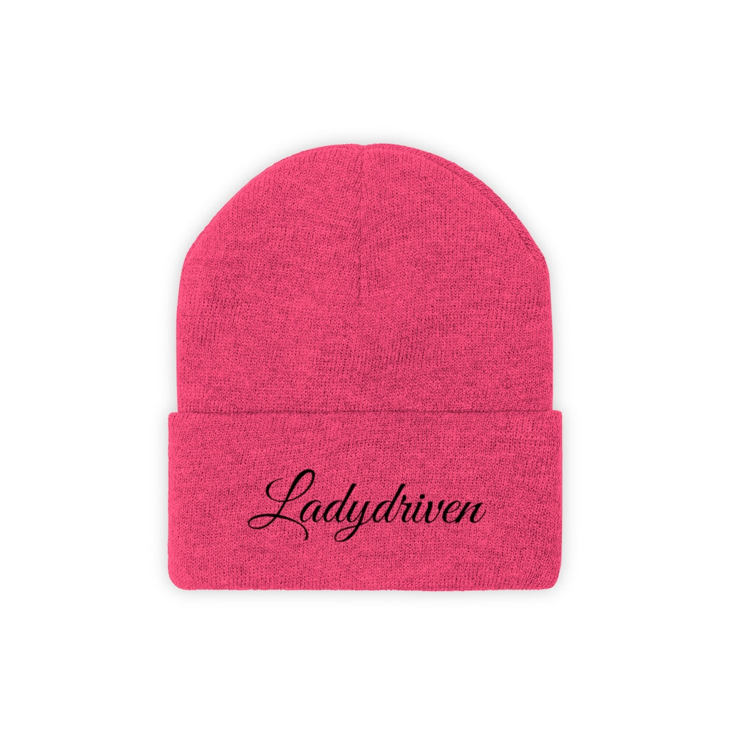 Ladydriven Embroidered Pink/Black Knit Beanie