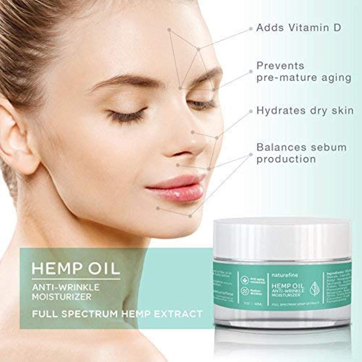 Hemp Oil Face & Neck Moisturizer + Anti Aging Cream