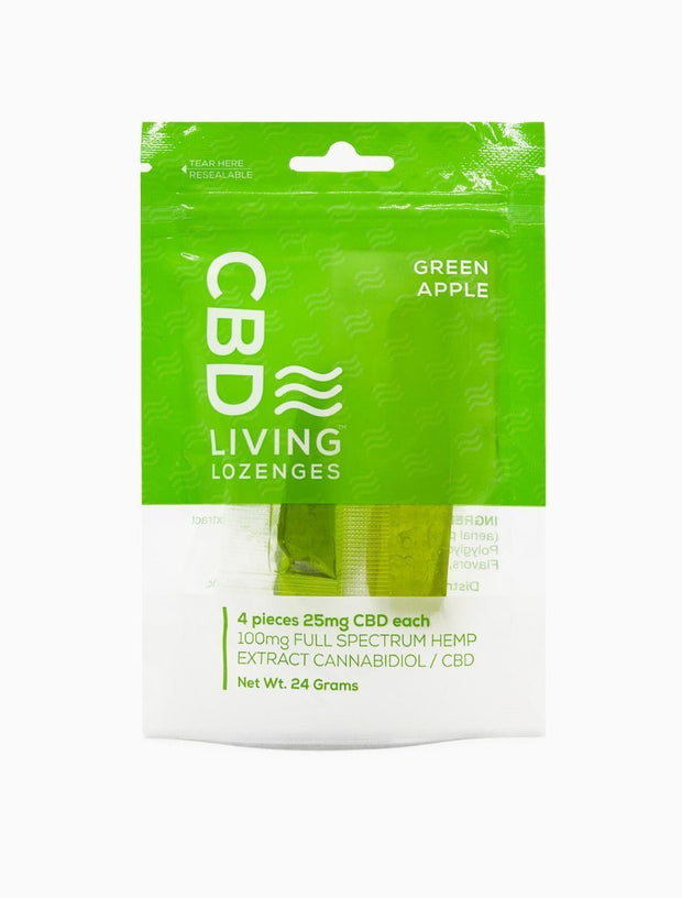 CBD Living Lozenges Bag Green Apple 100mg