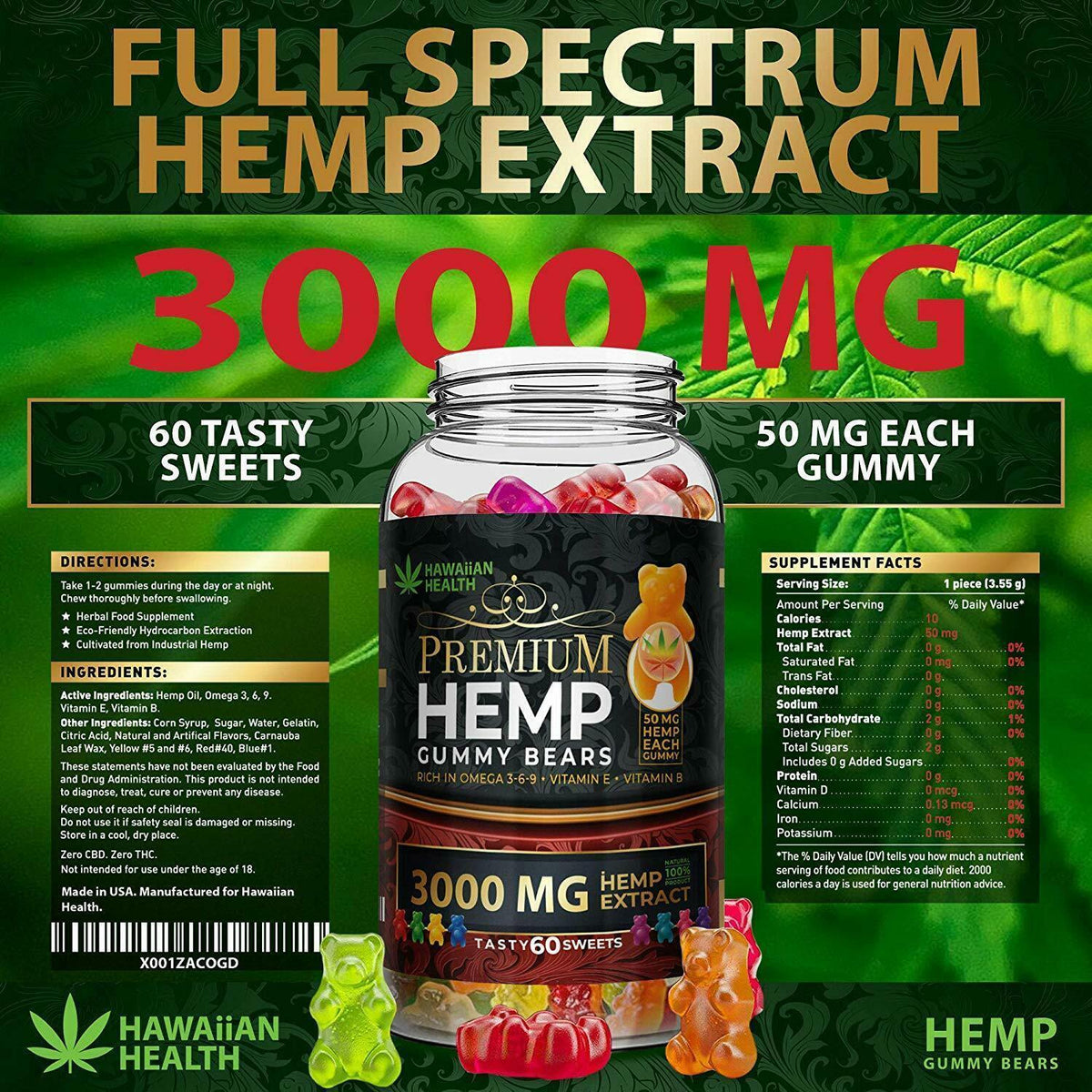 Natural Hemp Gummies 3000MG 50MG Per Fruity Gummy Bear Full Spectrum edible 0CBD