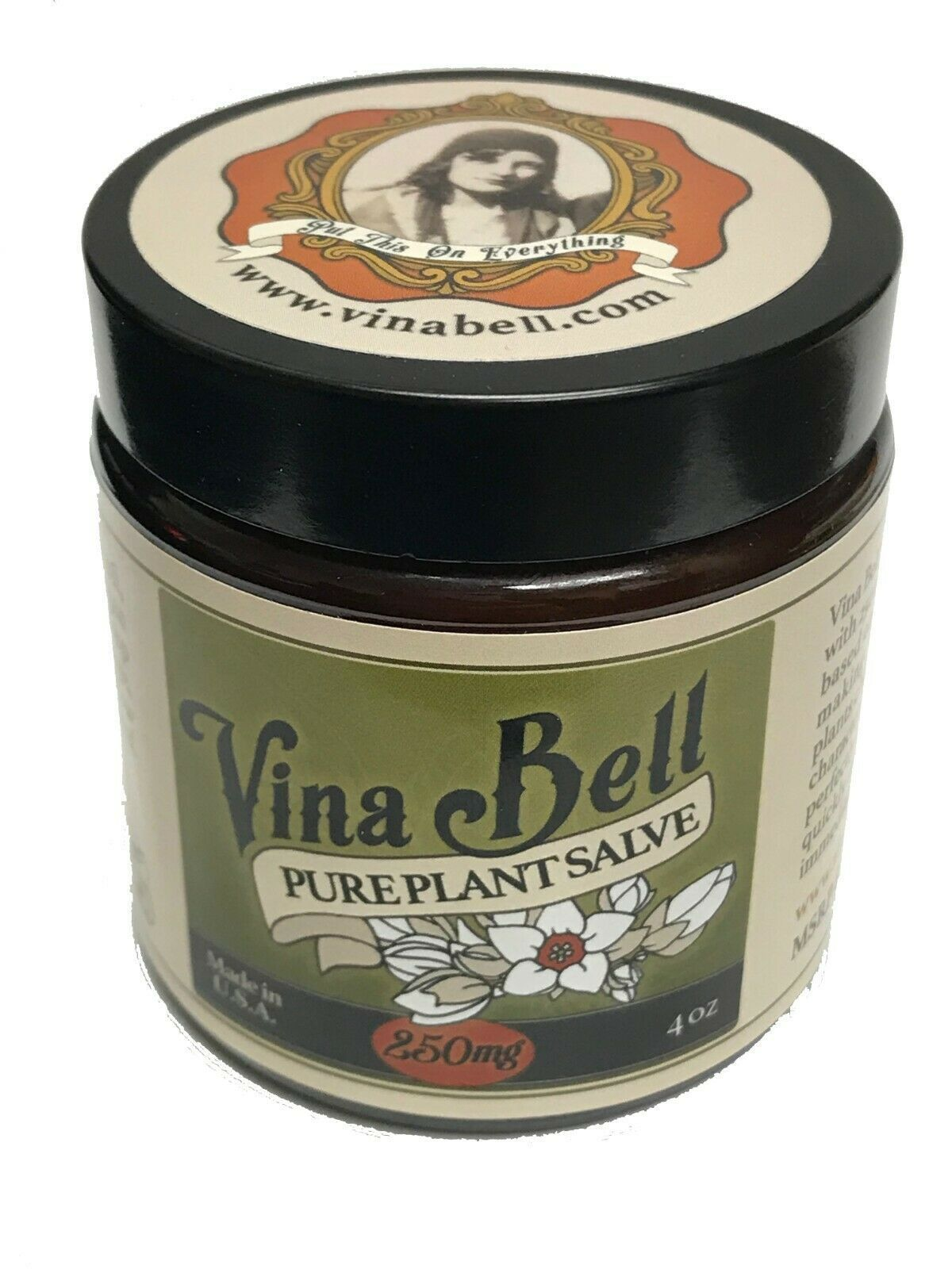 Vina Bell 250mg CBD Hemp Oil Topical Cream Salve 4oz Joint / Muscle Pain Relief