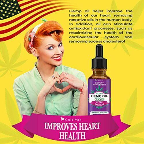 Premium Organic Hemp Oil Drops 7500mg For Pain Relief Joint CBD