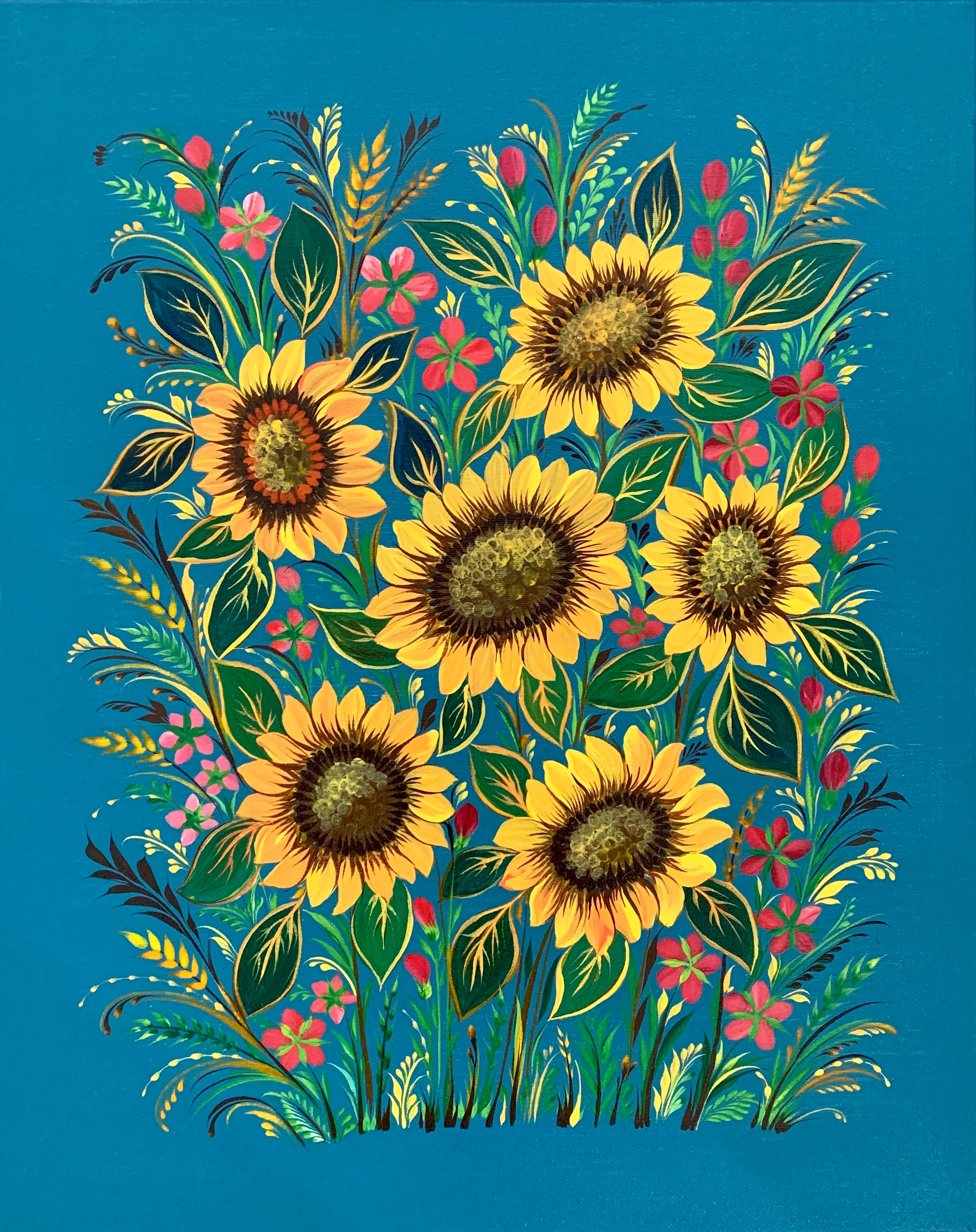 SUNFLOWERS -  16 in x 20 in (40.6 cm x 50.8 cm)