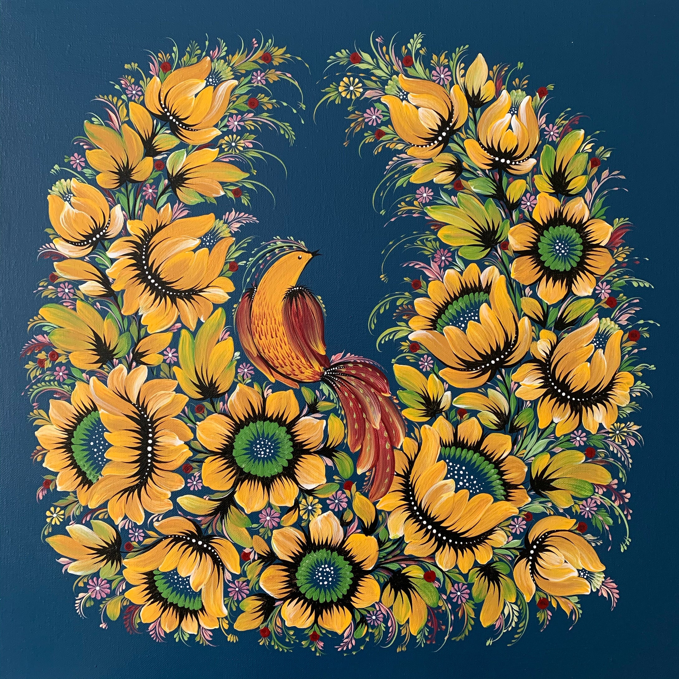 GOLDEN BIRD - 20 in x 20 in (50.8 cm x 50.8 cm)