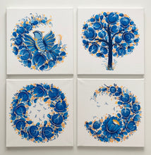 BLUE QUARTET  - 12 in x 12 in (30.4 cm x 30.4 cm)
