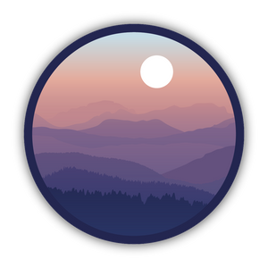 Sunset Mountain Range Sticker