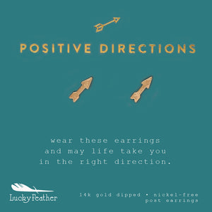 Positive Directions, Gold Arrow Earrings