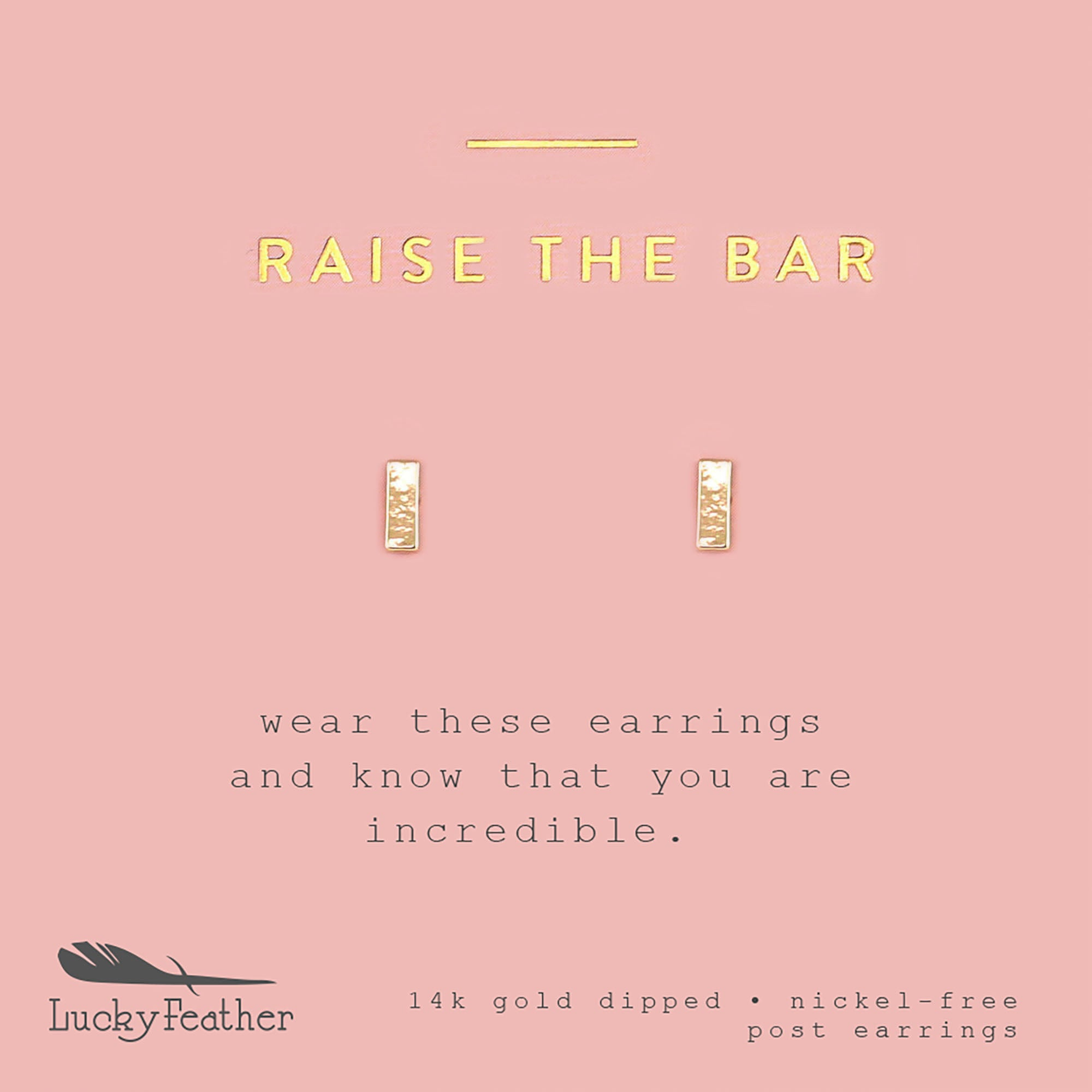 Raise the Bar, Gold Bar Earrings