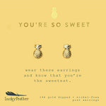 Load image into Gallery viewer, You're So Sweet, Gold Pineapple Earrings