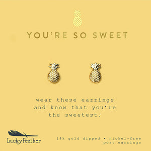You're So Sweet, Gold Pineapple Earrings