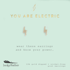 You Are Electric, Gold Bolt Earrings