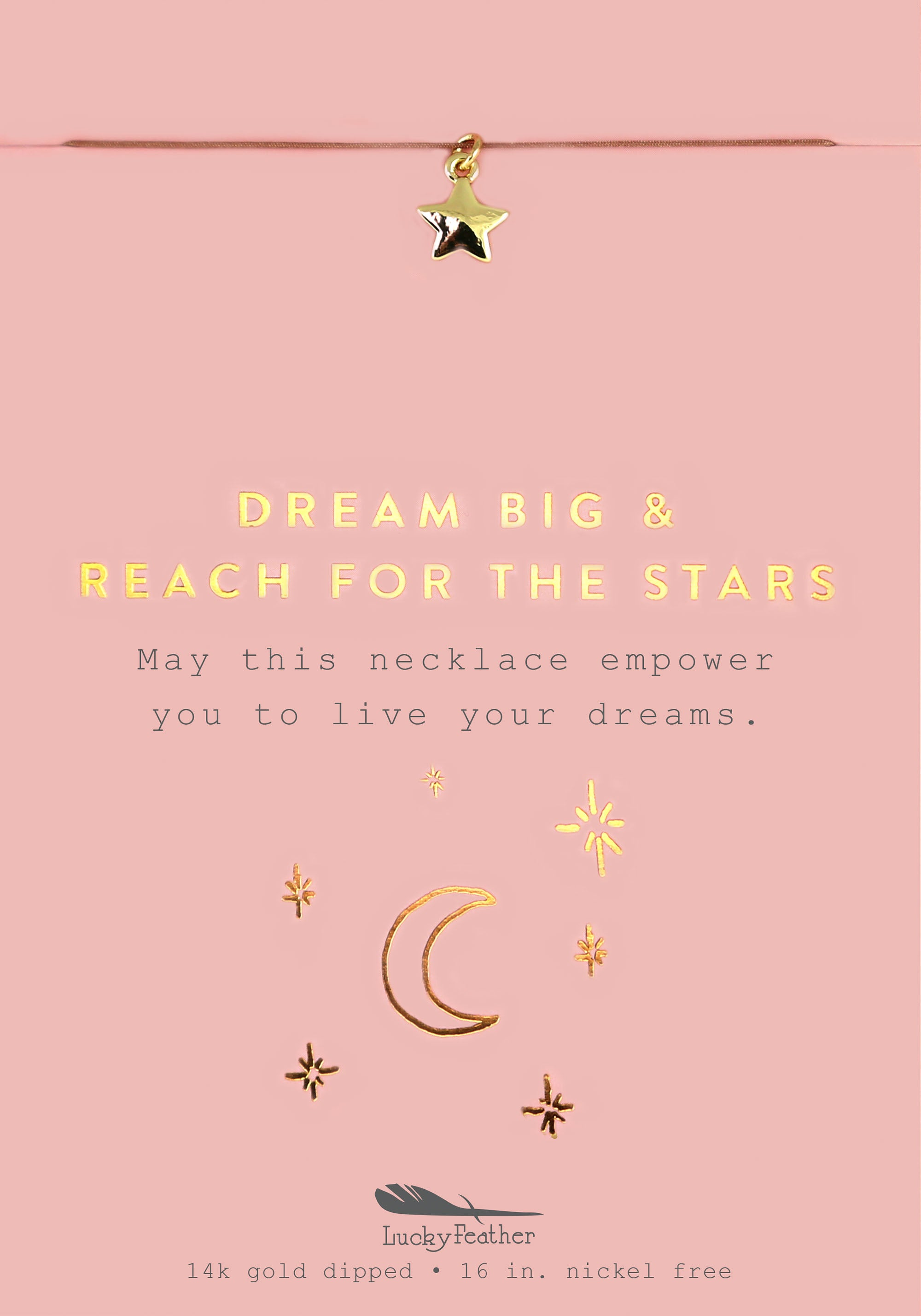 Dream Big Reach for the Stars, Gold Star Necklace