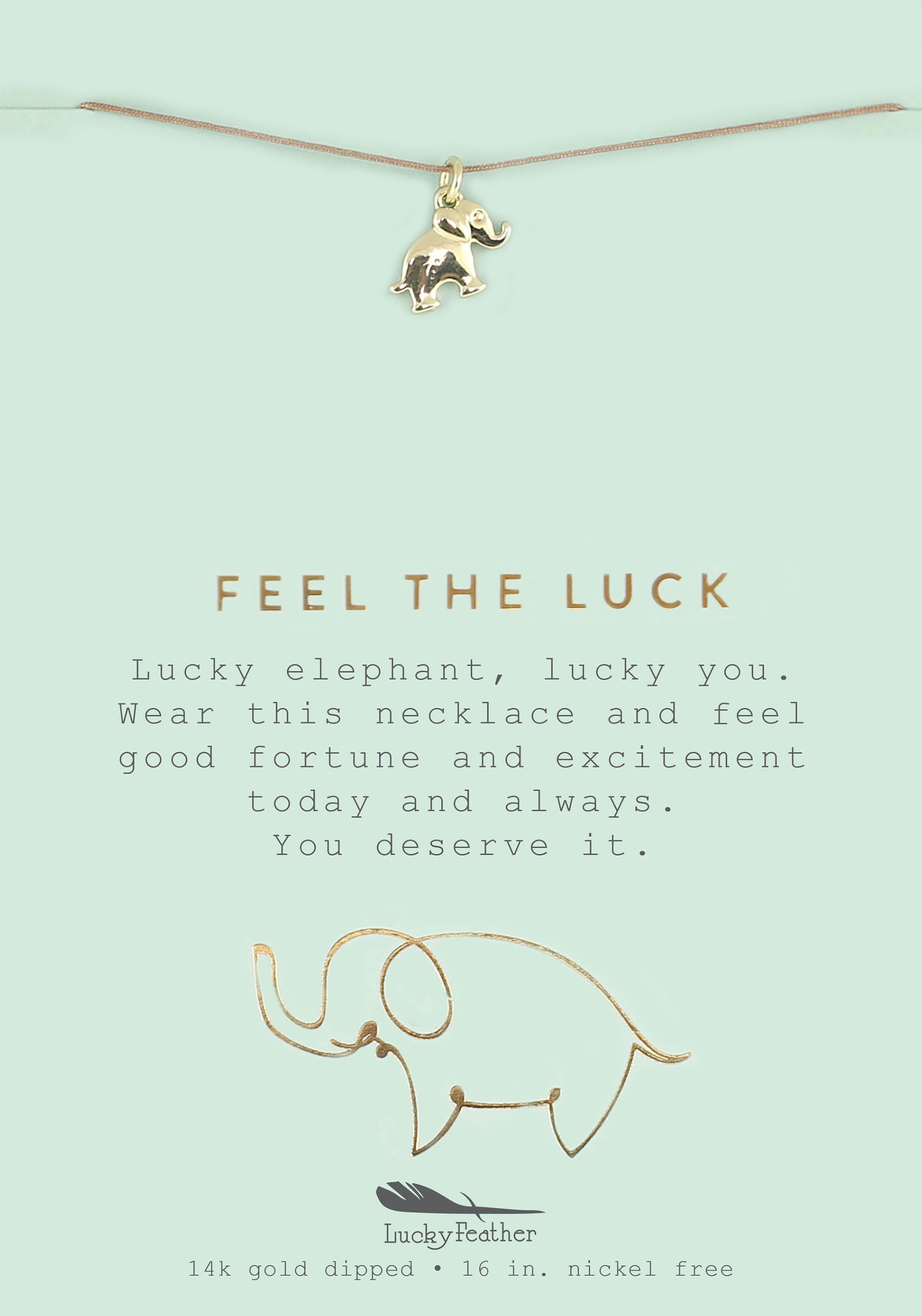 Feel the Luck, Gold Elephant Necklace