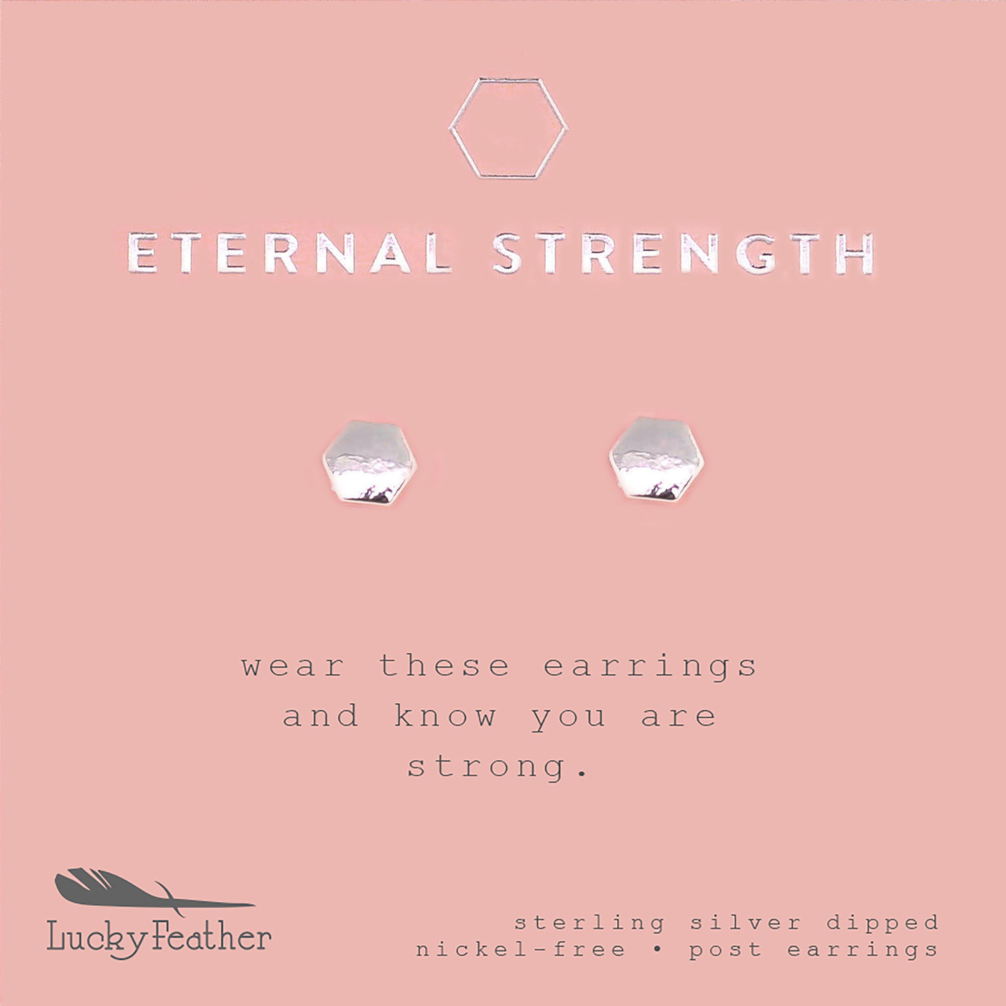Eternal Strength, Silver Hexagon Earrings