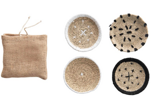 Round Woven Coasters Set in Burlap Bag
