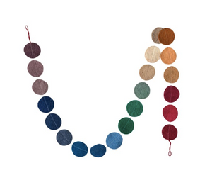 Multicolor Wool Felt Garland with Flat Circles