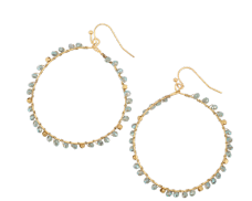 Gold Hoop with Aqua Crystals