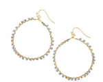 Load image into Gallery viewer, Gold Hoop with Aqua Crystals