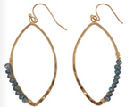 Load image into Gallery viewer, Teardrop Hoop with Blue Beads