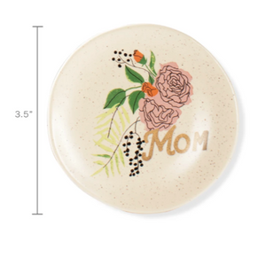 """Mom"" with Flowers Trinket Tray"