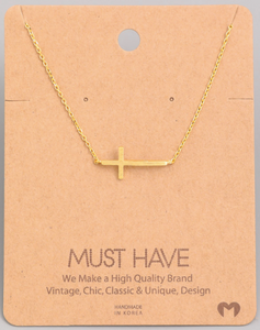 Side Cross Pendant|Gold