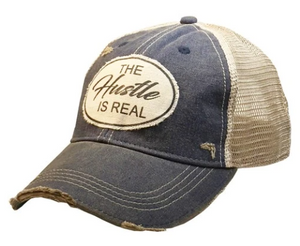"""Hustle is Real"" Vintage Distressed Trucker Hat"