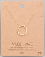 Load image into Gallery viewer, Rhinestone Circle Pendant|Gold