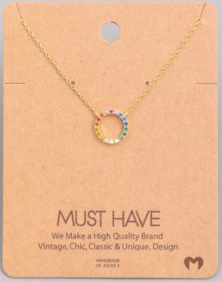 Rainbow Circle Pendant|Gold